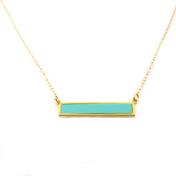 Turquoise Bar Necklace - Dainty 14k Gold Filled Jewelry