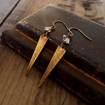 Herkimer Diamond Gold Brass Dangle Spike Earrings, Brass Dagger Earrings, Clear Crystal Earrings, Edgy Jewelry, Rustic Jewelry, Rustic