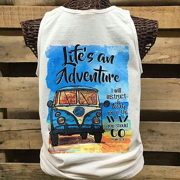 Southern Chics Life is an Adventure Christian Comfort Colors Girlie Bright T Shirt Tank Top