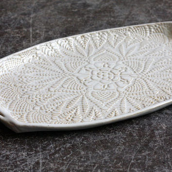 Handmade Pottery Tray - White Lace - Ceramic Appetizer Platter - Serving Tray