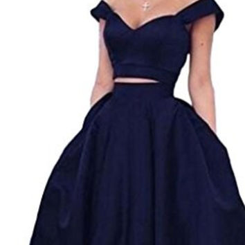 ScelleBridal Off the Shoulder Prom dresses Two pieces Homecoming Dresses with Pocket 117