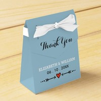 Pink Sweethearts & Arrows Blue Wedding Thank You Party Favor Box