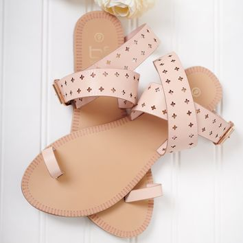 Downtown Girl Wrap Ankle Sandals (Pink)