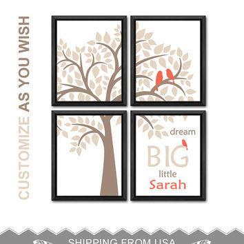 coral baby girls room decor bird family in a tree kids wall art nursery art for new baby shower gift birds in a tree nursery decor idea