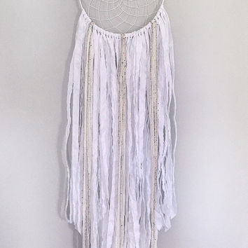 Large Dream Catcher - Large White Dream Catcher - Boho Dreamcatcher - Wedding Dreamcatcher