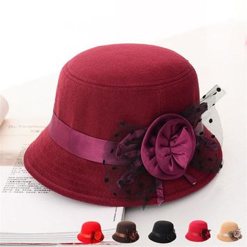 Lady Fedoras Autumn Winter Party Formal Top Cap Vintage Womens Decoration Flowers Wool Felt Church Hat Mother Dome Bucket Hat