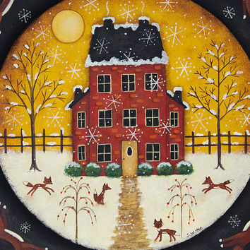 Christmas Folk Art Hand Painted Wood Plate, Primitive Winter Scene, Red Saltbox House, Running Foxes, MADE TO ORDER