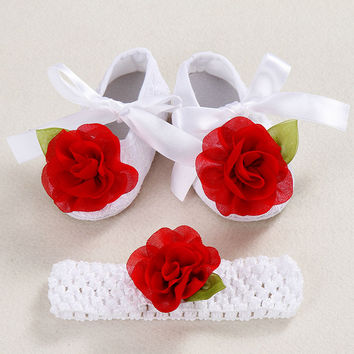 Ivory newborn Booties christening shoes for baby girl;infant rhinestones first walker baby shoes ballerina; girls baptism set