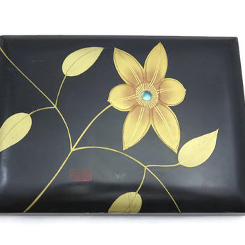 Asian Lacquer Box - Black, Gold Flower, Abalone Inlay, Signed, Desk Organizer, Stationery Box