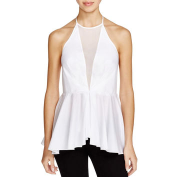 Kendall + Kylie Womens Peplum Sleeveless Halter Top