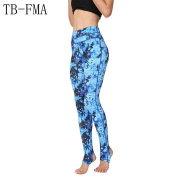 Printed Yoga Leggings Women Mid Waist Fitness Training Leggings High Stretchy Workout Running Tights Athletic Sport Leggings