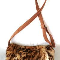 Upcycled fur muff, leopard muff, leopard crossbody bag purse, printed rabbit fur clutch bag, handmade fur purse, made in France