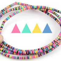 Neon Pop: Vintage African Vinyl (Vulcanite) Record Disc Beads or Necklace, Multi-Colored with PINK & Green, 3x.5mm / Summer Festival Fashion