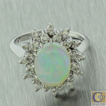 1970s Vintage Estate 14k White Gold Opal Diamond Halo Engagement Ring