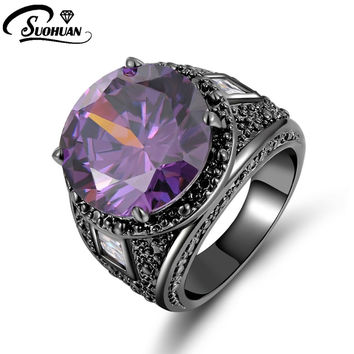 Purple 7 2015 New Fashion Jewelry Size 7 8 9 10 Amethyst sapphire ring 10KT Black Rhodium Plated Rings for mens Gift R061