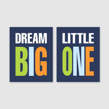 Baby Boy Nursery Art // Boy Nursery Decor Dream Big Little One Art Prints Boy Bedroom Art Boy Bedroom Decor // Lime Green Navy Blue Orange