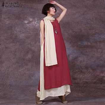 ZANZEA Women 2017 Summer Vintage Casual Loose Sleeveless Dress Sexy O Neck Boho Floor-Length Splice Long Maxi Dresses Plus Size