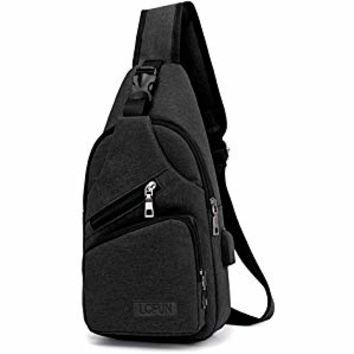 Canvas Chest Pack Crossbody Casual Sling Shoulder Bag(502) (black)
