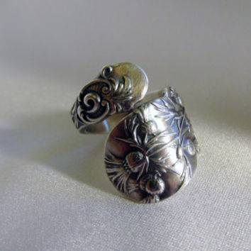 Scottish Thistle Flower Spoon Ring Sterling Silver Celtic Ring Symbolic of Strength and Spirit Gift for Her