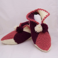 Handknitted Wool Slippers/legwarmer/Socks, Pink, White and Dark Red Slippers, Women legwarmer, UK Seller
