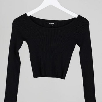 Long Sleeve Scoop Neck Ribbed Crop Top - Black