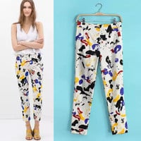 Graffiti Print Trousers Pants