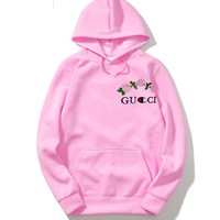 GUCCI classic trend embroidered rose couple models long-sleeved hooded sweater