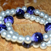 Double Beaded Bracelet Made With White Glass Pearls and Blue Porcelain Beads