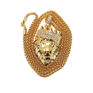 High quality Gold Plated Lion Head With Crown Necklace