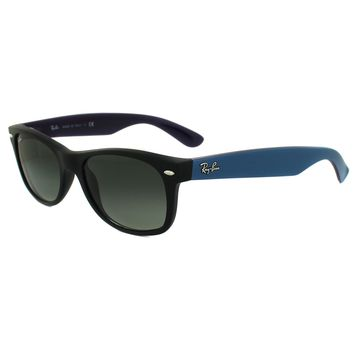 Ray-Ban Sunglasses New Wayfarer 2132 618371 Matt Black & Blue Dark Grey Gradient