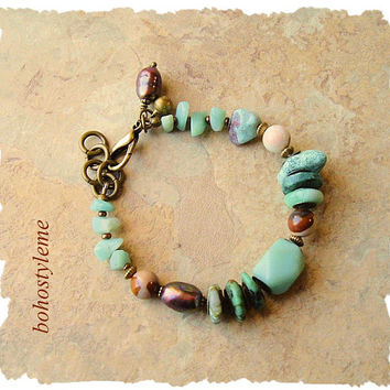 Bohemian Jewelry, Boho Rocky Seaside Bracelet, Birds Egg Blue, Turquoise and Amazonite, bohostyleme, Kaye Kraus