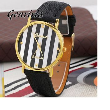 2017 Genvivia Brand 3color Quartz Watches Women Classic Stripes Print PU Leather Woman Man Analog Wrist Watch #T40 Gift
