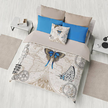Steampunk Map Duvet Cover or Comforter, industrial chic duvet or comforter, brown, beige, blue, unique beautiful, bedroom decor