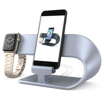 ICIK4S2 Apple Watch iPhone Charging Stand for iPhone X/8/8 Plus/7/7 Plus/6/6S/6S Plus/5/5S/5C and iWatch Series 3/2/1 All Models, hooroor 2 in 1 Charging Dock Station Silver (Not a Wireless Charging Station)