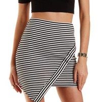 Black/White Striped Asymmetrical Mini Skirt by Charlotte Russe