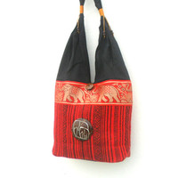 Shoulder Bag Sling Thai Hippie Hobo Red Black color Lady Women Bag Crossbody Bag Hippie Boho Bohemian Bag Purse Messenger Gift Bag
