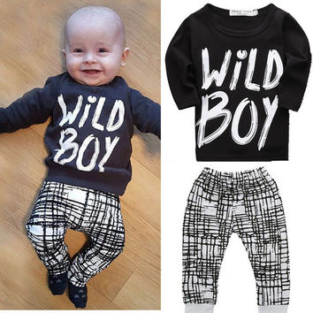HOT Newborn Baby Kids Boys Wild Boy Letter Long Tops + Plaid Pants Outfits Sets Baby Summer Clothing  0-2Y