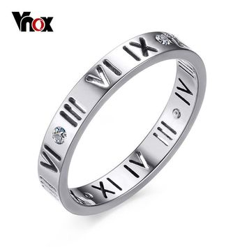 Vnox Roman Numbers Engagement Ring for Women Cute Stainless Steel CZ Silver Gold Color Female Jewelry