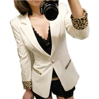 One Button Blazer Suit Leopard Lapel Jacket Coat Tops 3 Colors (White)