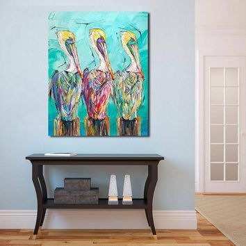 JQHYART Fashion Art Three of a Kind Pelicans Wall Art Canvas Painting For Living Room Home Decor Oil Painting Wall Art Picture
