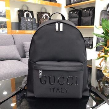 GUCCI MEN'S NYLON CANVAS AND LEATHER BACKPACK BAG-KUYOU