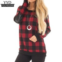 2018 New Arrival Womens Plaid Winter Spring T-Shirt For Women O Neck Long Sleeve Casual Tops Ladies Camiseta Mujer *1216