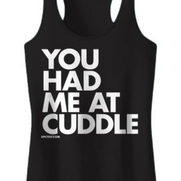 Women's You Had Me At Cuddle Tank Top - Black