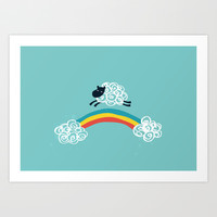One Happy Cloud Art Print by Budi Satria Kwan
