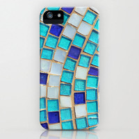 iPhone 5 Case - Geometric Photograph - Blue Tiles - Barely There Case plastic iPhone cover abstract blue teal turquoise squares white