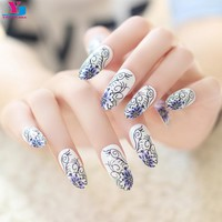 24pcs Flower Designs Fake Nails Beauty Long Unhas Stiletto Nail Tips Artificial Glitter Full False Nails Acessorios Para Mulher