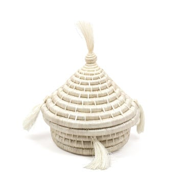 White Tassel Basket