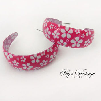 Vintage Pink Floral Enamel Hoop Earrings, Floral Pink & White Pierced Earrings