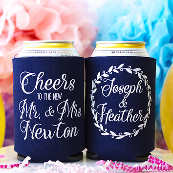Rustic Wedding Favor, Wedding Can Cooler, Cheers to the New Mr & Mrs, Beverage Holder, Wedding Gift, Can Hugger, Can Insulator, Beer Holder