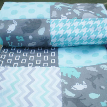 Baby blanket,Patchwork Baby blanket,baby boy bedding,baby girl quilt,woodland,rustic,grey,teal,chevron,dots,deer,bear,fleece,baby quilt